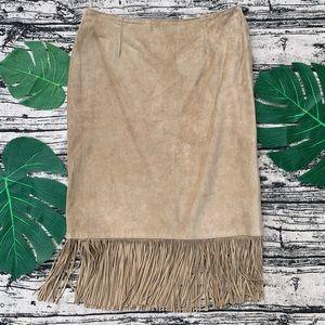 Vintage Cuir Zebra Leather Suede Fringe Skirt
